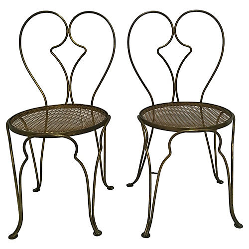 French Bistro Chairs in Brass, S/2