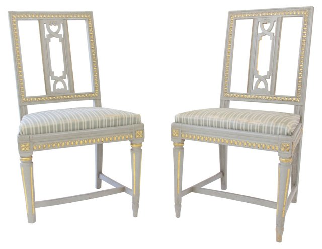 Late Gustavian Chairs, Pair