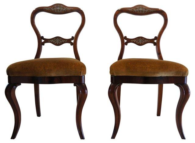 Inlaid Mahogany Chairs, Pair