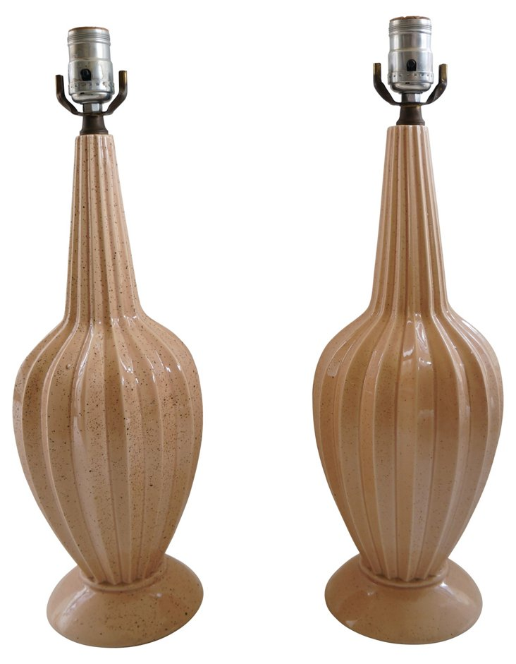 Midcentury Pink Glazed Lamps, Pair