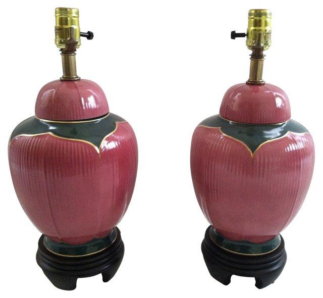Midcentury Jar Lamps, Pair