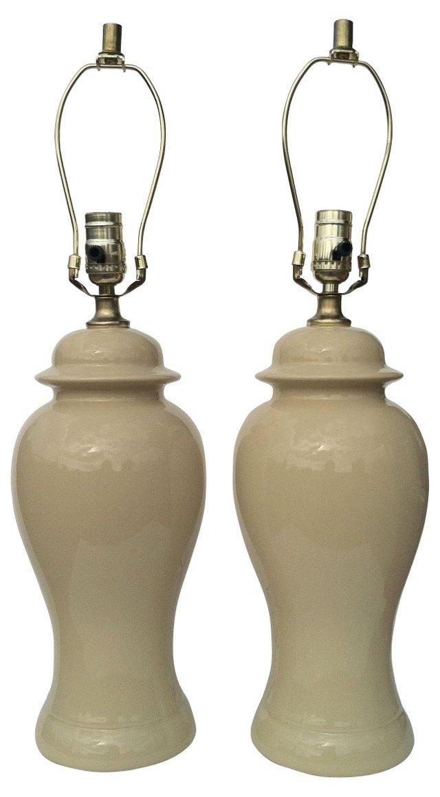 Beige Ginger Jar Lamps, Pair