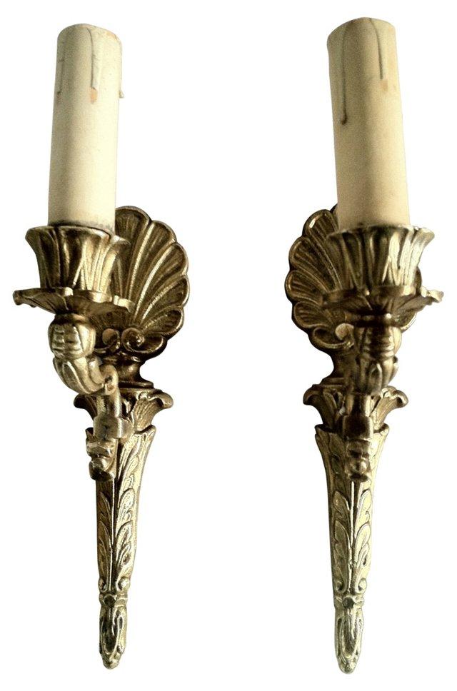 Gustavian-Style Brass  Sconces, Pair
