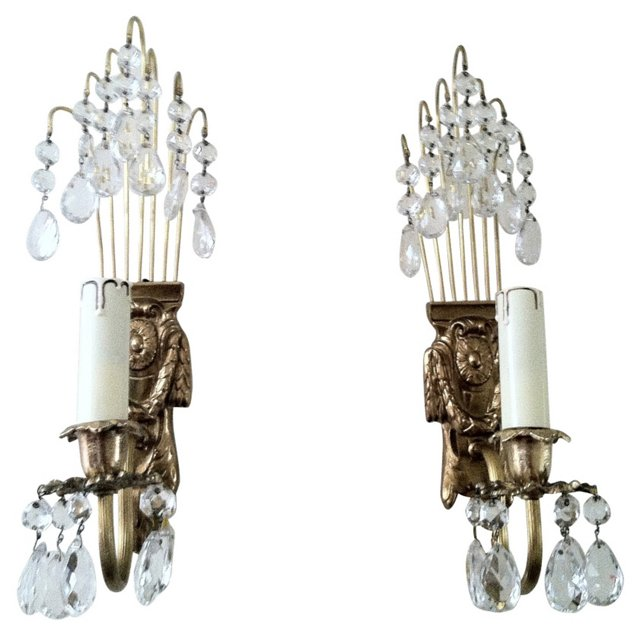 Gustavian-Style  Crystal  Sconces, Pair