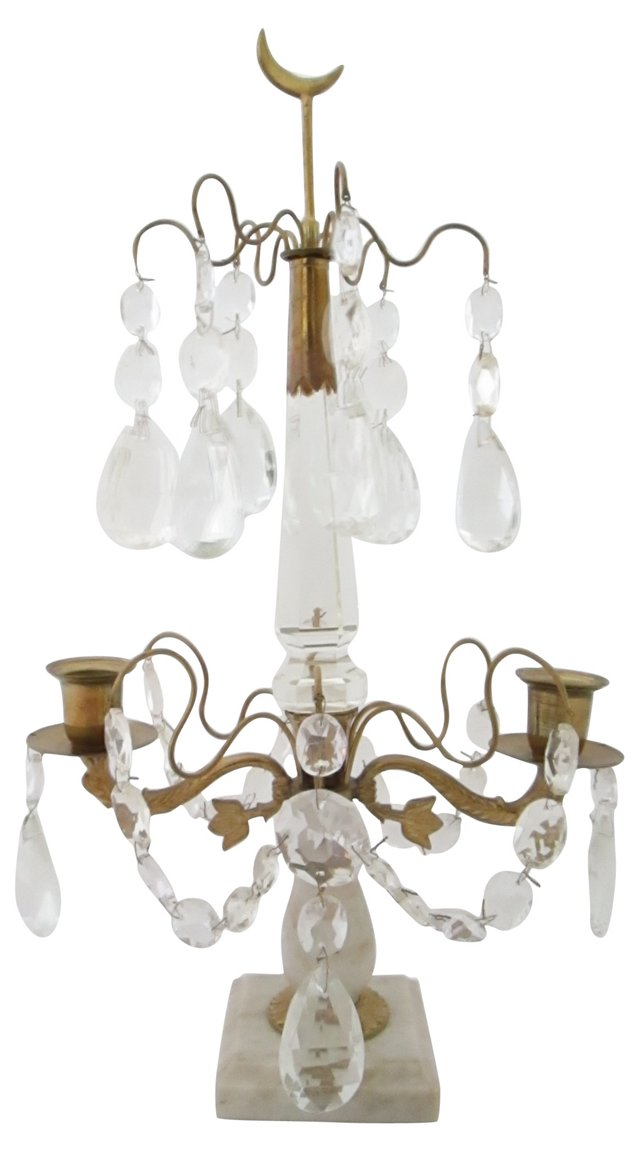 Gustavian-Style Crystal Table Chandelier