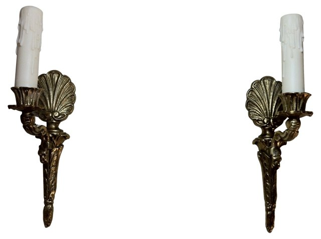 Gustavian-Style Shell Sconces, Pair