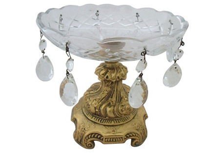 European-Style Brass & Crystal Bowl