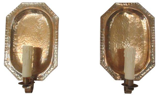 Gustavian-Style Sheild  Sconces,  Pair