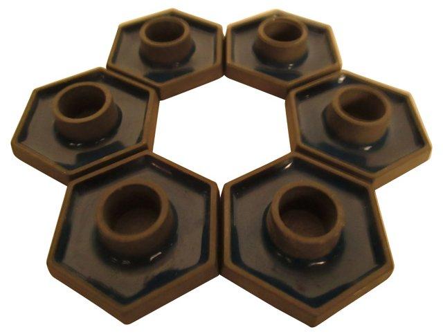 Danish Blue Hexagonal Candleholders, S/6