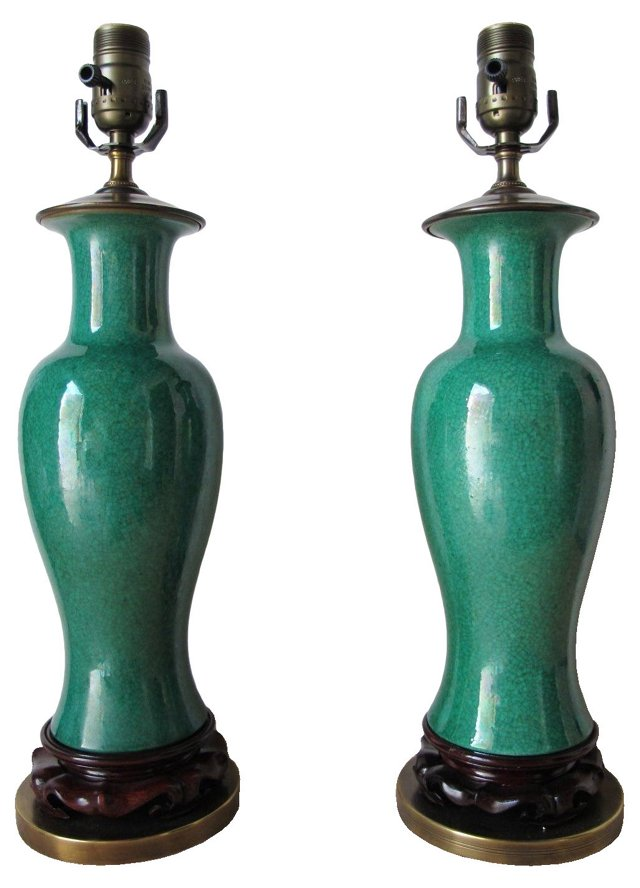 Green Crackled Lamps, Pair