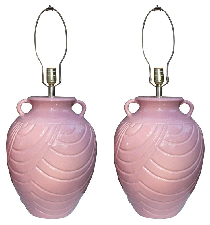 Pink Pottery Lamps, Pair