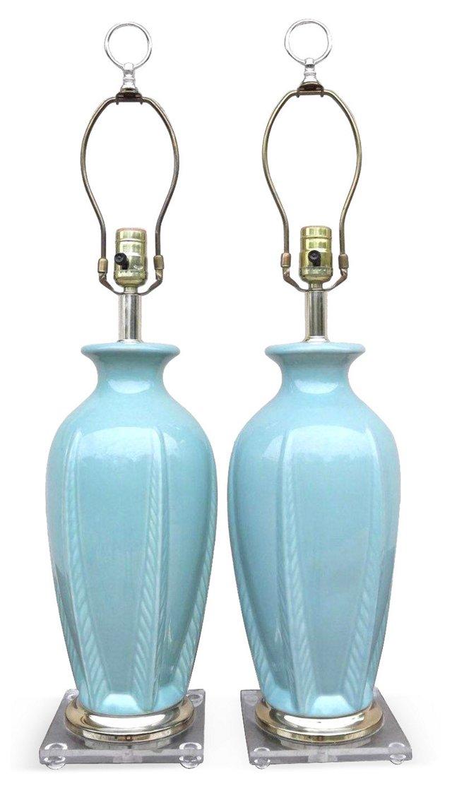 Midcentury Seafoam Ginger Jar Lamps, S/2