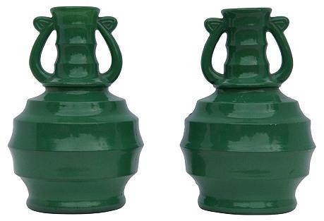 Pair of Mid Century Glass Jars