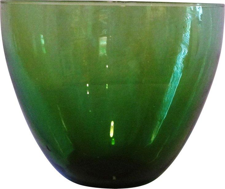 1960s Artisan Grease Green Glass Bowl
