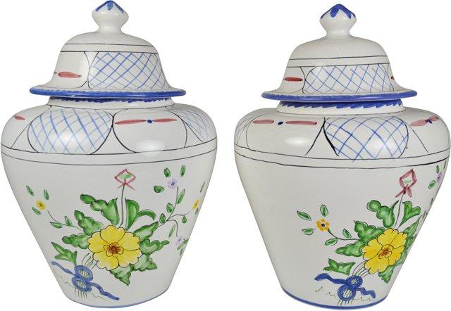 Tiffany Covered Jars, Pair
