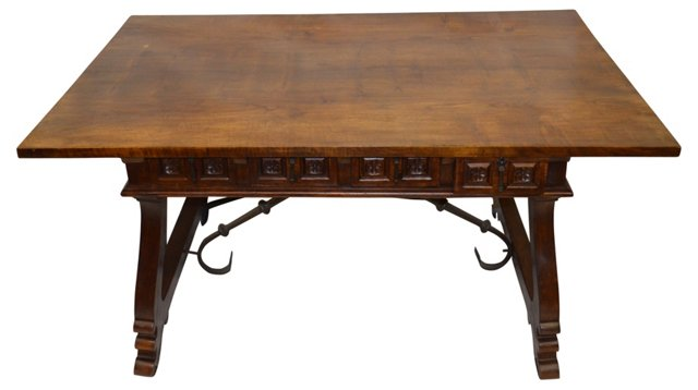 Carved Spanish Table w/ 3 Drawers