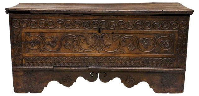 18th-C. French Carved Trunk
