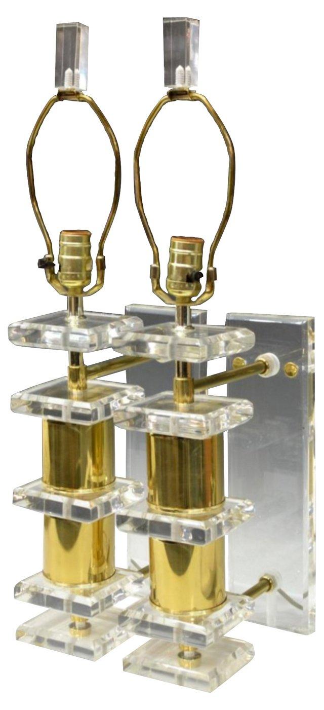 Lucite & Brass Sconces, Pair