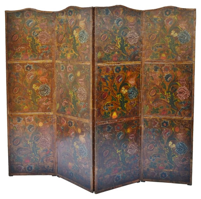 18th-C.  Flemish Embossed Leather Screen