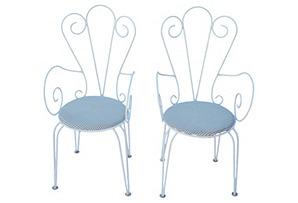 White Iron Chairs, Pair