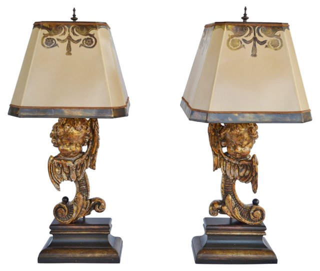 Baroque-Style Lamps, Pair