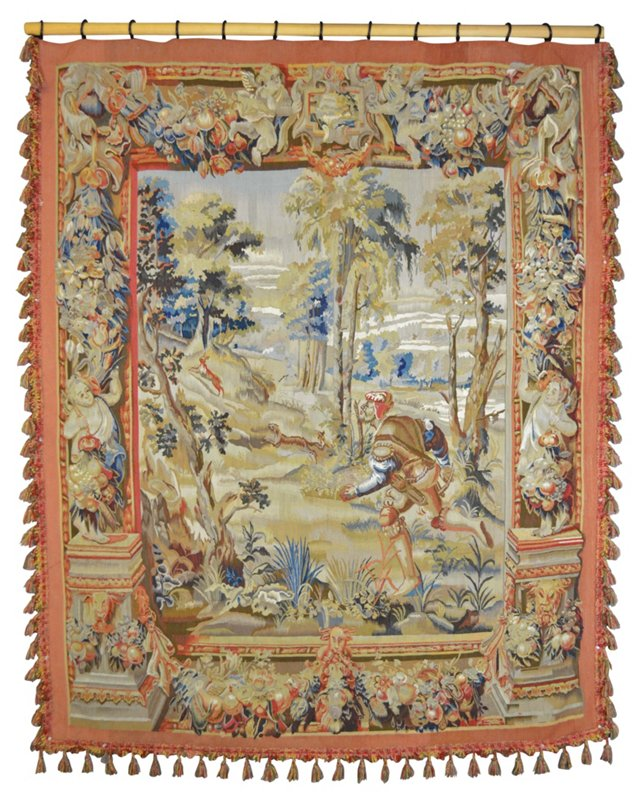 French Tapestry w/ Hanging Rod