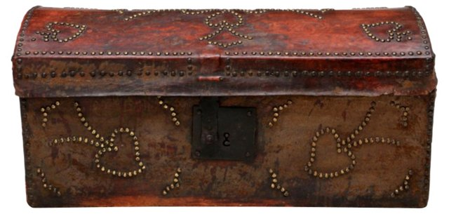 Antique Leather Travel Trunk