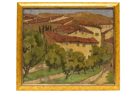Antique Provence Village Painting