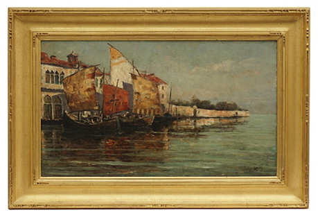 Antique Venetian Seascape by Parker Mann