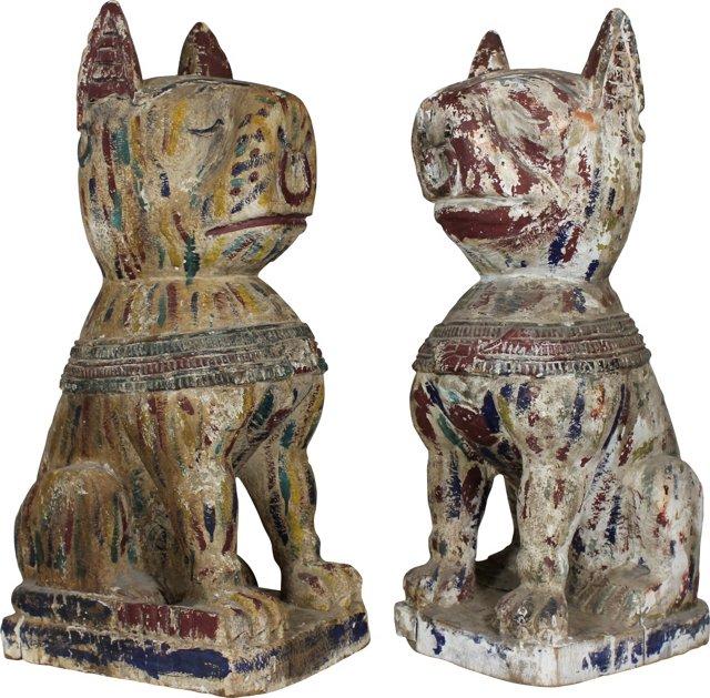 Wood Foo Dogs, Pair