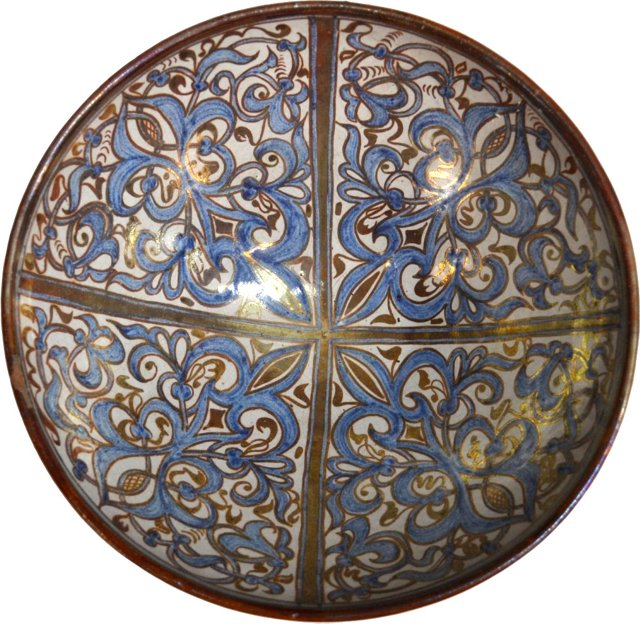 Spanish Hand-Painted Luster Bowl