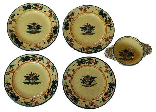Antique French Bowl & 4 Plates