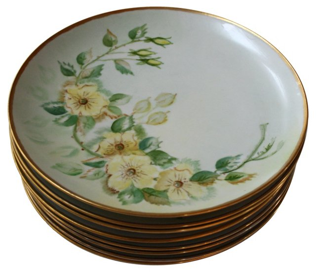 Hand-Painted Bavarian Dinner Plates, S/8