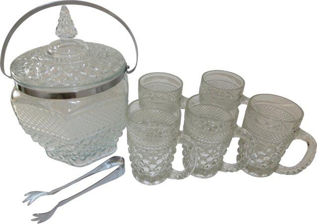 Glass Ice Bucket w/ 5 Mugs