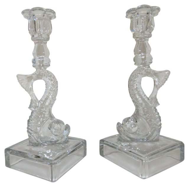 Glass Dolphin Fish Candleholders, Pair