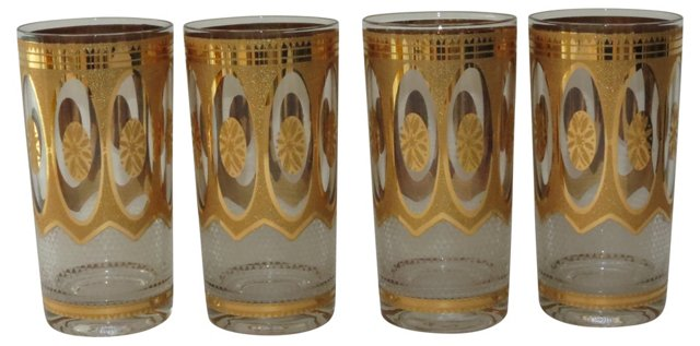 Midcentury Gold Glasses, S/4