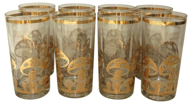 Gold Culver Glasses, S/8