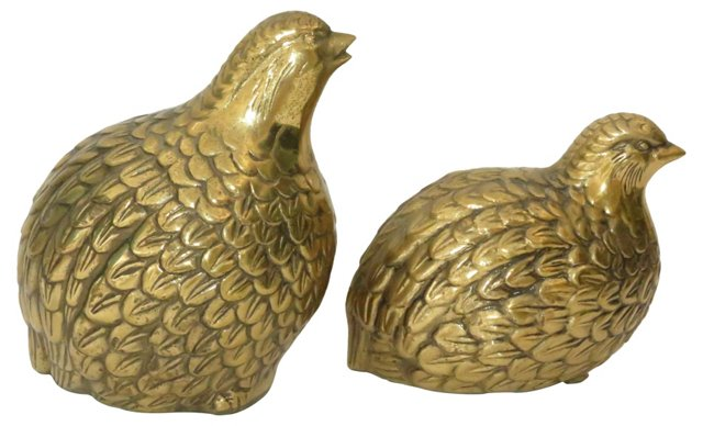 Solid Brass Partridges, Pair