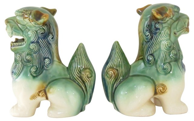Ceramic Foo Dogs,   Pair