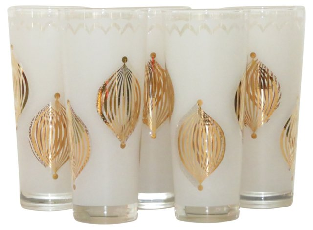 Gold & Frosted Highball Glasses, S/5