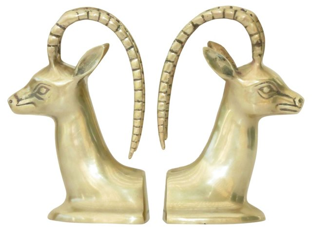 Brass Gazelle   Bookends