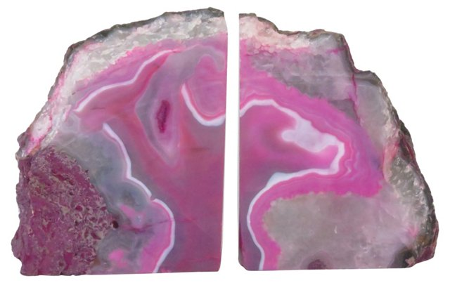 Pink Stone Bookends