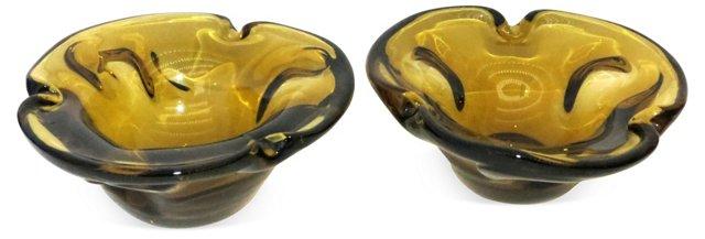 1960s Amber Art Glass Bowls, Pair