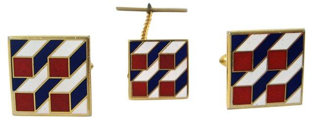 Geometric Red, White & Blue Cuff Links