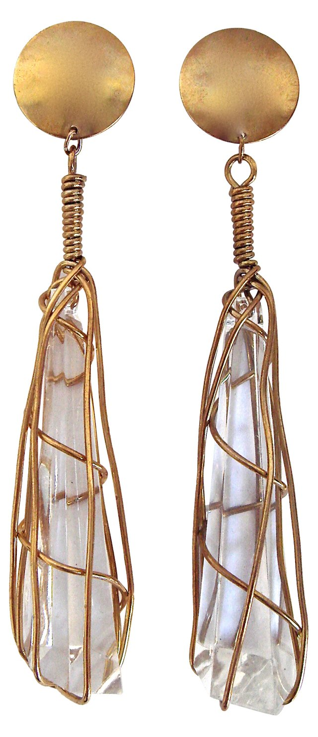 Caged Lucite Crystal Drop Earrings