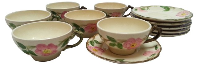 Desert Rose Cups & Saucers, Svc. for 6
