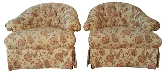 Baker Furniture Floral Chairs, Pair