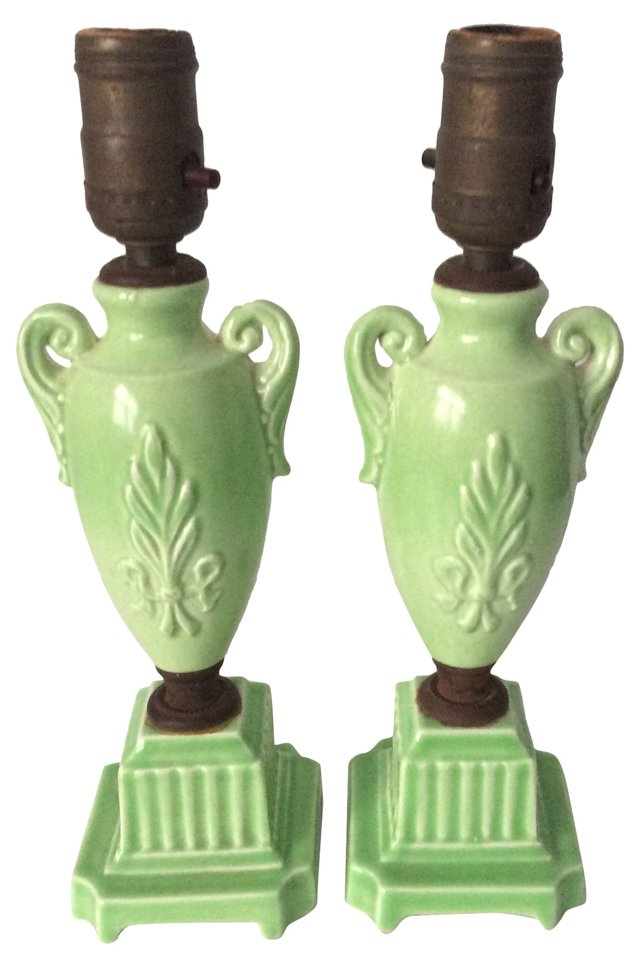 French Ceramic Lamps, Pair