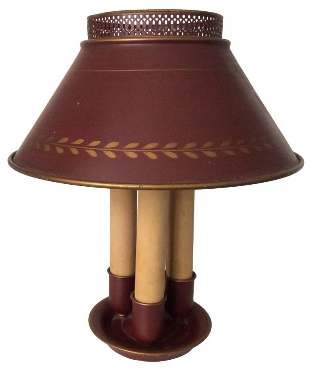 Red Tole Bouillotte Lamp