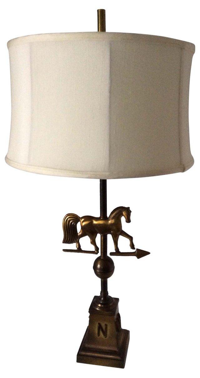 Brass Weathervane Horse Lamp